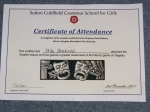 Tragedy Lecture - Attendance Certificate