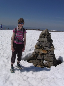 Author Sally Jenkins at top of Ben Nevis